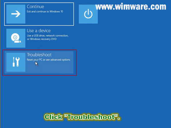 Select troubleshoot