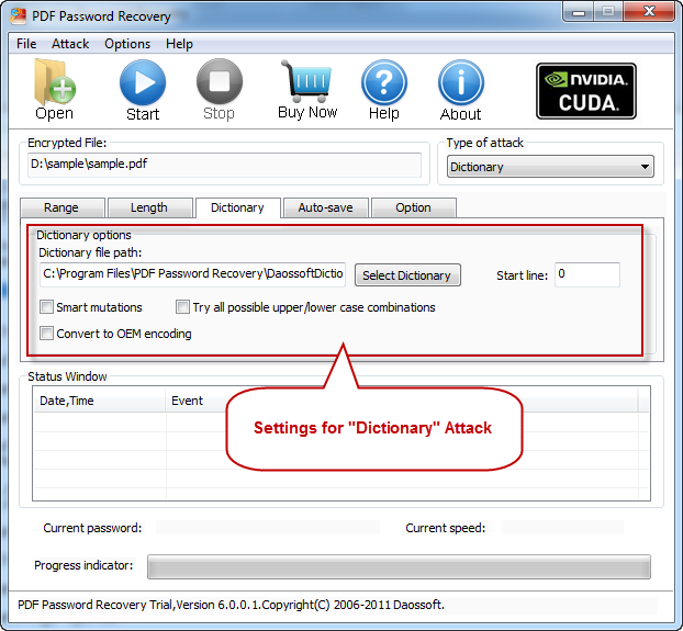 Dictionary settings on PDF Password Recovery