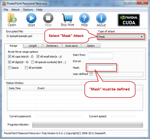Mask Attack with RAR Password Recovery