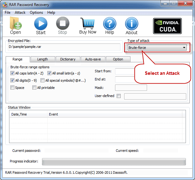 Select an Attack to recover rar password