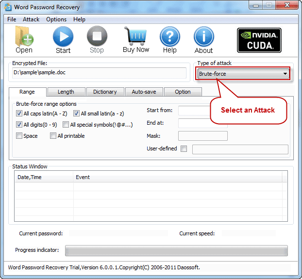 Select an Attack to recover excel password