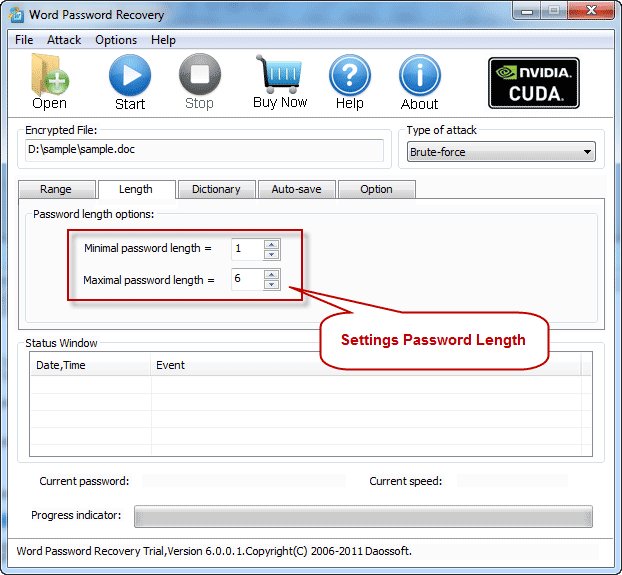 Password length settings with Excel Password Recovery