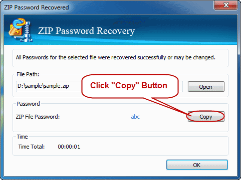 open password protected zip file