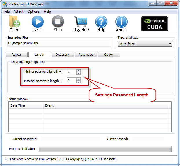 Password length settings on ZIP Password Cracker