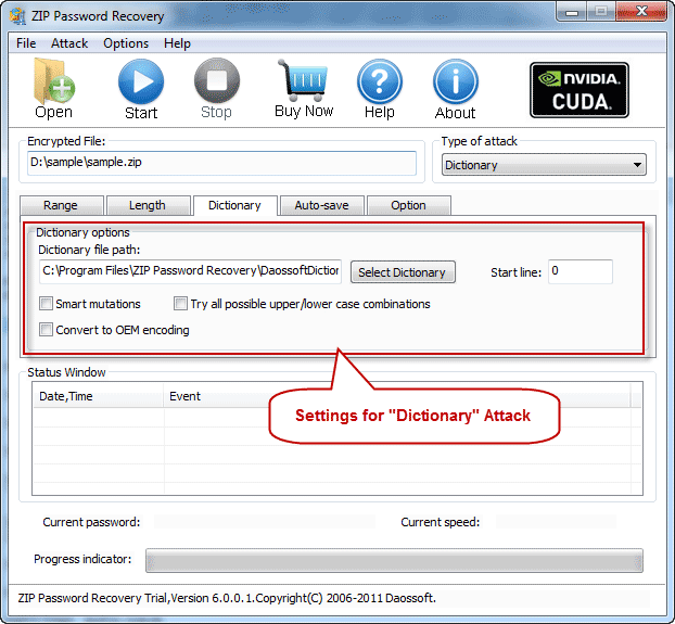 Dictionary settings on ZIP Password Cracker