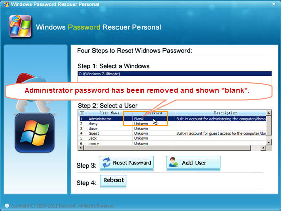 forgot user password windows 7