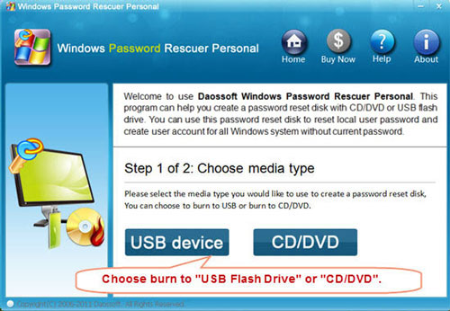 Create password recovery disk with CD or DVD