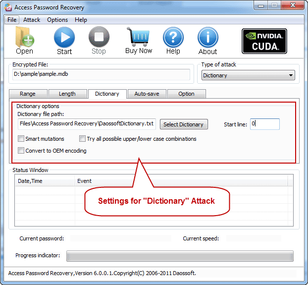 Dictionary settings with RAR Password Recovery