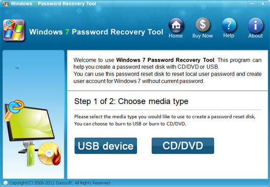 Windows 7 password recovery burn