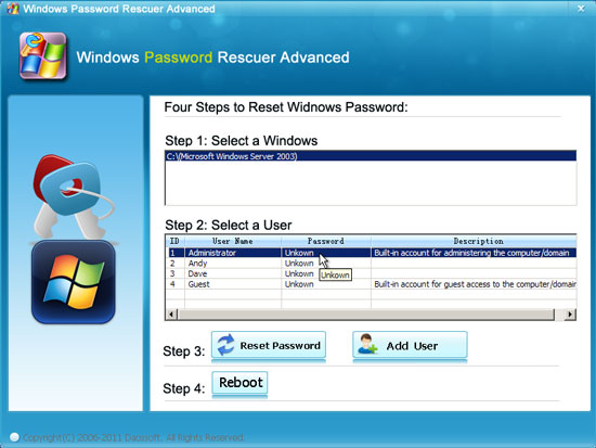 reset Windows server 2003 password