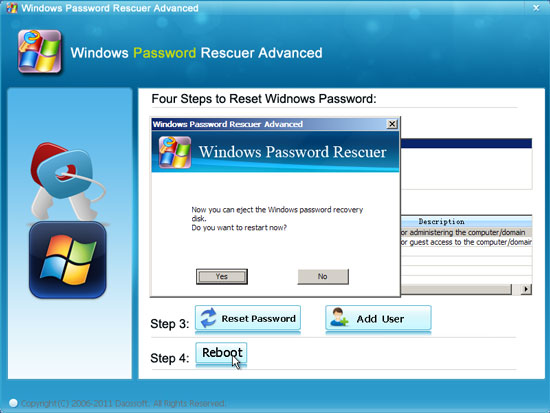 Recover domain password - reset user password