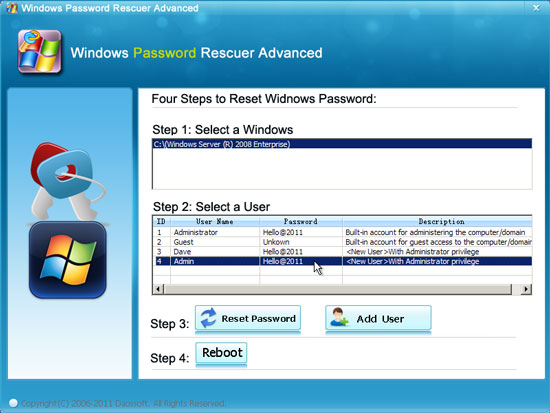 add new admin account to Windows server 2008